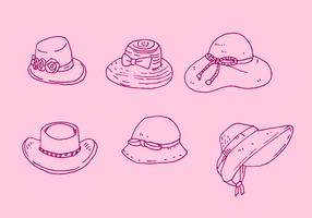 Insieme di vettore del cappello delle signore