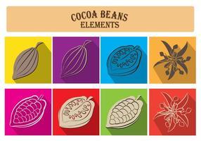 Elementi di fagioli di cacao