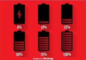 Icone dell'indicatore della batteria del telefono vettore