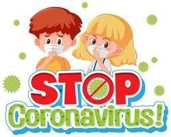 fermare il poster di coronavirus con bambini che indossano la maschera vettore
