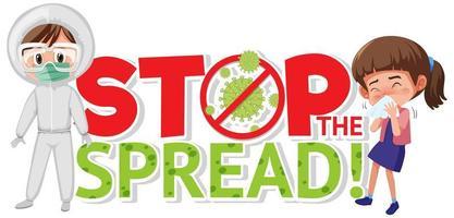 poster di coronavirus con arresto del disegno diffuso con persona in tuta a rischio biologico