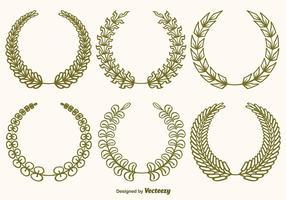 Set di corone di ulivo vettoriale