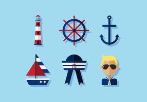 Set di icone nautiche vettoriali