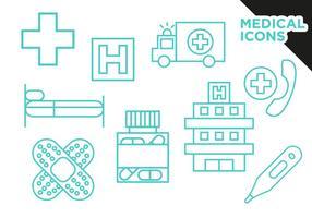 Vettore piano delle icone mediche gratis