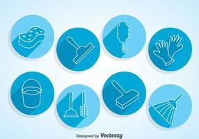 Icone del cerchio di pulizia domestica vettore