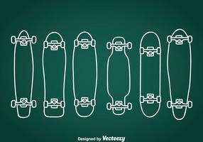 Icone disegnate a mano longboard vettore