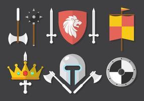 Armi medievali e fondo dell'ingranaggio vettore