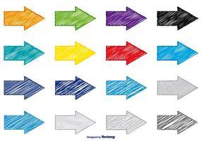 Set di frecce colorate stile scarabocchio vettore