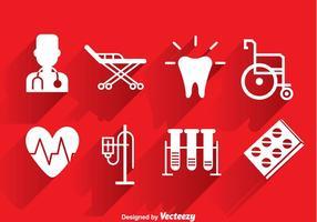 Icone bianche mediche vettore