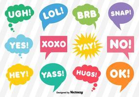 Bolle di dialogo vettoriale con brevi espressioni