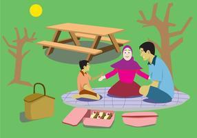 divertente vettore di picnic in famiglia