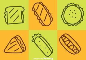 Icone di contorno di fast food