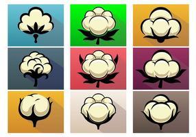 Insieme dell'icona di vettore della pianta di cotone