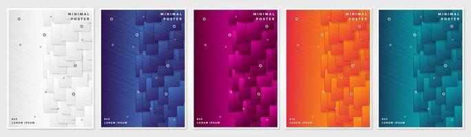set di copertina di sfondi geometrici astratti vettore