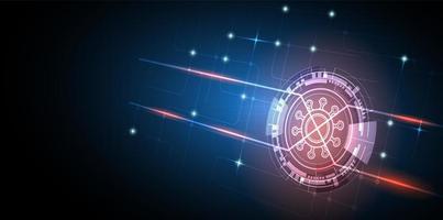 icona di tecnologia coronavirus incandescente con sfondo astratto tecnologia