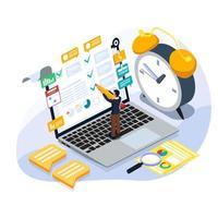 controllo di scrittura dell'uomo d'affari a per fare la lista per gestire l'orario di lavoro vettore