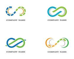 loghi di simbolo di infinito blu, verde, arancione vettore