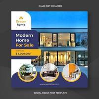 modello di banner sociale quadrato casa immobiliare
