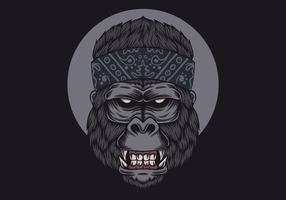 testa di gorilla bandana vettore