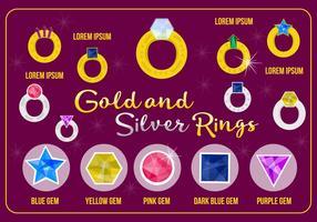 Vettore di anelli d'oro e d'argento