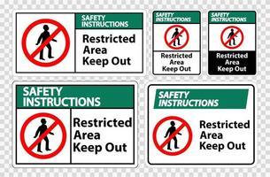 area riservata istruzioni di sicurezza tenere fuori set di simboli