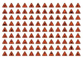 set di etichette triangolari di avvertimento simboli di pericolo vettore