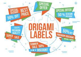 Etichette di origami vettoriali gratis