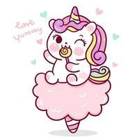 Unicorno di cartone animato con ventosa su zucchero filato vettore