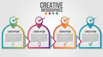 Design moderno della timeline infografica a forma arrotondata a 4 gradini