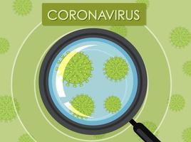 lente d'ingrandimento guardando le cellule di coronavirus vettore