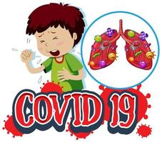 segno covid-19 con ragazzo che tossisce e polmoni infetti vettore