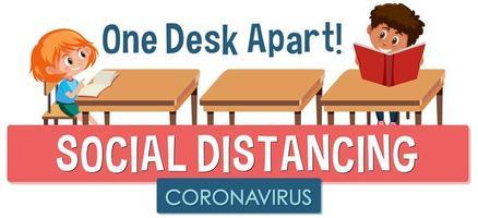 bambini che stanno a una scrivania a parte poster di distanza sociale vettore