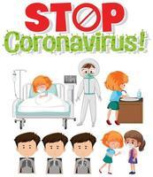fermare i caratteri medici coronavrius impostati vettore