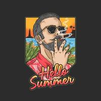 uomo in vacanza tropicale godendo sigaro