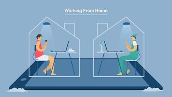 due impiegati che lavorano da casa per proteggere il nuovo coronavirus vettore