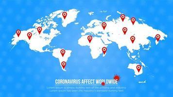 poster blu con spille di posizione del mondo interessate dal coronavirus vettore