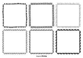Set di cornici stile disegnato a mano carino vettore