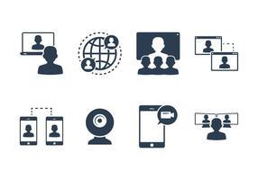 Vettori di icone Live Chat e Webinar