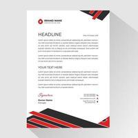 carta intestata aziendale con angoli rossi e neri dinamici vettore