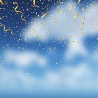 coriandoli d'oro su sfondo blu cielo vettore
