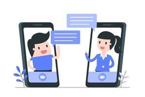 illustrazione di concetto di comunicazione e social media vettore