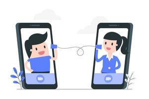illustrazione mobile di concetto di videoconferenza vettore