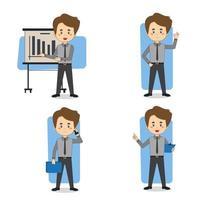 set di caratteri di uomo d'affari in varie pose vettore