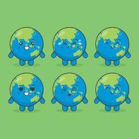 simpatici personaggi della terra con varie espressioni vettore