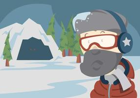 Everest Vector Landscape with Mountaineer