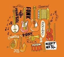 Vettori di strumenti musicali disegnati a mano