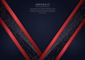 astratto sfondo blu scuro con accento rosso lucido sovrapposto e strati di punti vettore