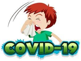 covid-19 con il ragazzo ammalato che starnutisce vettore