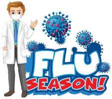 '' stagione influenzale '' con il medico accanto alle cellule virali vettore