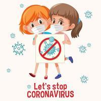 fermare il design del poster di coronavirus con due ragazze che indossano maschere vettore